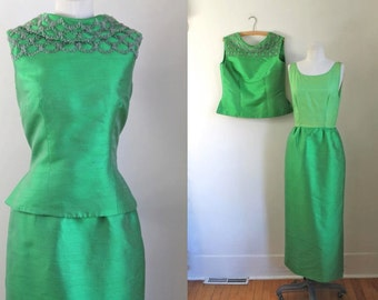 50% OFF...last call /// vintage 1960s dress set - THUJA green beaded top and maxi skirt set / S
