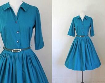 vintage 1950s/60s shirtwaist dress - PAON teal cotton shirt dress / XS