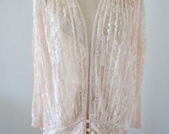 Vintage Retro Boho Chic Rose Pink Sheer Lace Long Dress Shirt Blouse