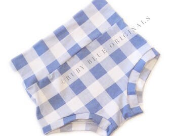 Baby Blue Gingham High Waisted Bloomer Shorties