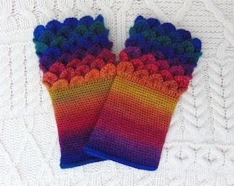 Rainbow Wristwarmers, Crocodile Stitch, Dragon Scale, Crochet Wrist Cuffs Wrist Warmers Handmade in Ireland