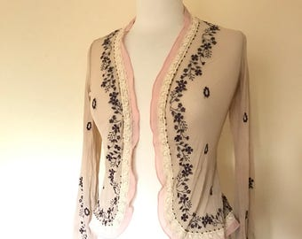 Vintage Soft Pink Floral Sheer Cardigan sz XS to S