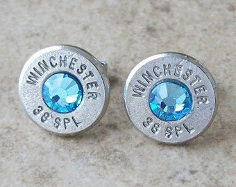 Winchester 38 Special Nickel Bullet Earring, Lightweight Thin Cut, Aquamarine Swarovski Crystal, Surgical Steel Stud - 412