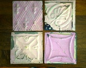 Genuine Antique Ceiling Tin 6 inch Tiles Crafts, Backsplashes, Birdhouses Photography Prop