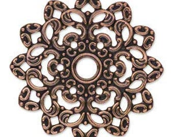 6pcs Copper Steel Metal Filigree Flowers 47x47mm Jewelry Components