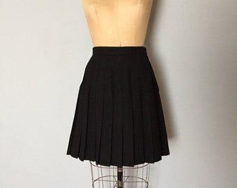40% OFF SALE... black wool pleated mini skirt   schoolgirl skirt