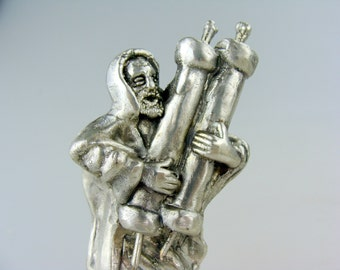 NOS Silver - Rabbi Holding Torah statuette figurine Judaica - Made in ISRAEL