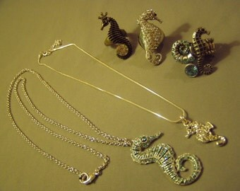 Vintage Lot Seahorse Costume Jewelry 2 Rhinestone Pendant Necklaces 3 Rings  8881