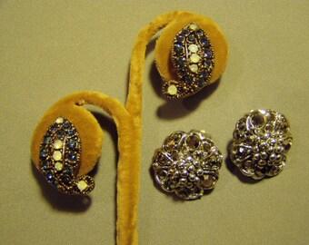 Vintage Hollycraft Signed 2 Pairs Rhinestone Clip Earrings 9031
