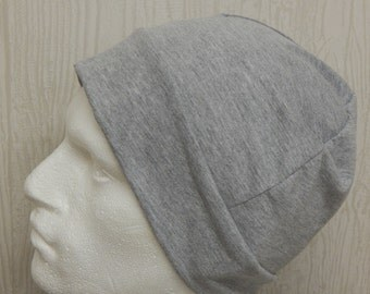 Light grey men's skull cap surgical hat chemotherapy bonnet cotton jersey beanie stretchy head wear chemo hair loss hat for man