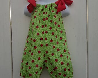Size 12/18 Mos Green Lady Bugs Shorts Romper
