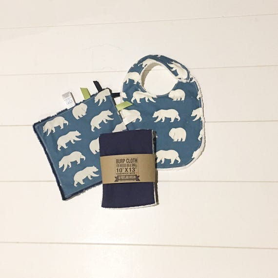 Organic Blue Bear Print Gift Set - Infant Bib, Burp Cloth, Crinkle Sensory Lovey - New Mom Essentials Baby Shower Gift