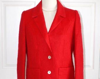 Vintage Red MOHAIR Dress Jacket . 1970s 80s Classy Gibby's Rare Mohair Blazer . Lipstick Red Suit Jacket . Size Medium Sz 10