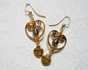 Brown and Gold Pearl Filigree Heart Earrings (3301)
