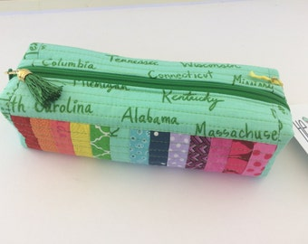HE.art by CC Rainbow Marker/Colored Pencil Cube (Mint with State Names Cotton & Steel)