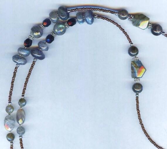 FABULOUS Natural Genuine Flashy Labradorite Beaded ID Badge Lanyard or Eyeglass Chain