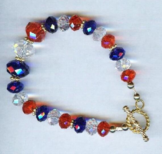 Patriotic Red White & Blue Faceted Crystal Bracelet - Anklet
