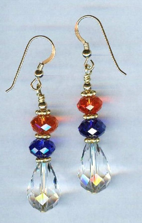 Patriotic Red White & Blue Faceted Crystal Bead Earrings