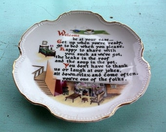 Vintage Artmark Japan WELCOME Plate wall-hanging You're One of the Folks Kitchen Decor Retro