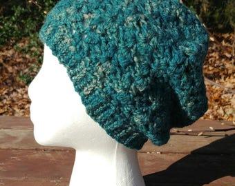 Hand Spun Hand Crocheted marbled green Hat