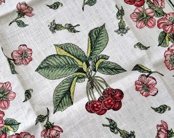 "Vintage Linen Tea Towel Cherries Cherry Blossoms Flowers Botanicals Fruit ""Cerise Ambree"" by MV, Unused French Floral Kitchen Hand Towel"