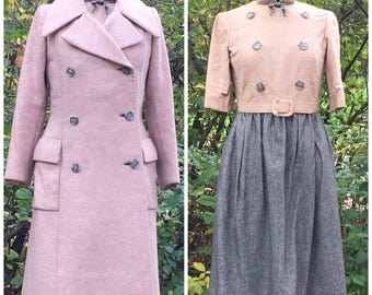 Vintage 1960s Geoffrey Beene Suit: 60s Dress and Coat, Stanley Korshak Chicago, small to medium