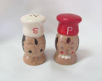 Small Vintage Wood Chef Salt & Pepper Shaker Set