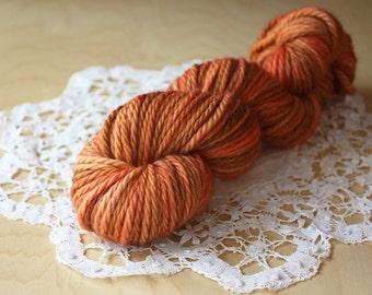 Hand Dyed Bulky Merino Yarn / Pumpkin Burnt Orange Saffron Autumn / Superwash Merino Wool