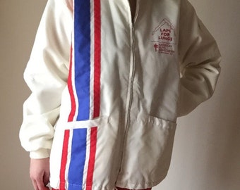 70s vintage centennial stripe faux fur lined mens unisex retro metal zipper windbreaker jacket LAPS FOR LUNGS Maryland coat l xl large