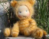 """Waldorf doll Kitten 8,5"""" Christmas Gifts for Children, Toddlers Newborn Girls Boy Children birthday knitted toy kids"""