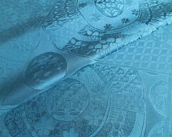 Japanese pure silk cloth from Kyoto Blue Traditional pattern