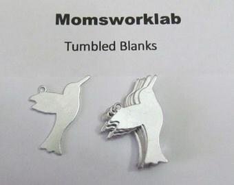 Hummingbird Blanks//Aluminum tags// 20 G Aluminum//tumbled blanks//nature blanks//necklace blanks//bird blanks//metal stamps//hand stamping