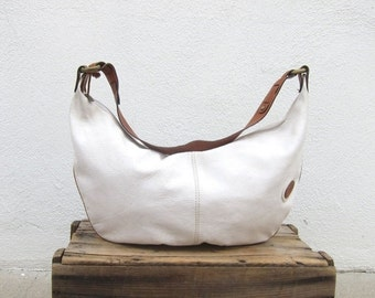 15% OFF Out Of Town SALE Giant White Hobo Slouchy Italian Leather Purse