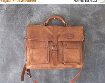 15% OFF Out Of Town SALE Overland Distressed Brown Leather Satchel Briefcase Work Bag w/Shoulder Strap