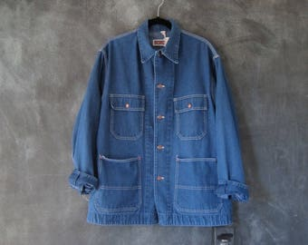 70s Big Mac Denim Jean Chore Jacket Americana Union Made Barn Jacket Mens Size M/L Ladies L