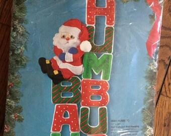 Vintage Bucilla Bah Humbug Felt Applique Wall Hanging Kit