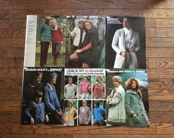 Vintage 1970's Bernat Knitting Magazine Lot Bulky Instructions Patterns