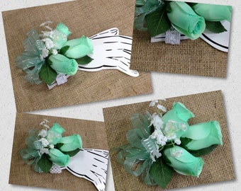 New Artificial Mint Rose Corsage, Mint Rose Mother's Corsage, Mint Corsage, Mint Wedding Flowers