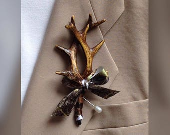 Custom Artificial Antler Boutonnieres, & Corsages