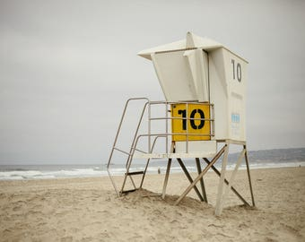 Mission Beach Yellow Life Guard Stand  - Horizontal