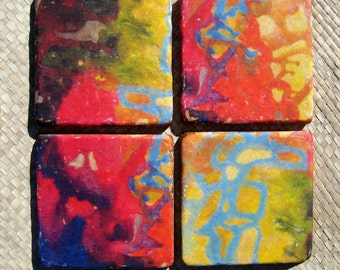 TILE COASTERS handmade-set of 4 red blue yellow green tile coasters by devikasart