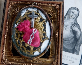 Antique French Sacred Heart Relic, Antique Religious Nuns Work, Sacred Flaming Heart, offered by RusticGypsyCreations