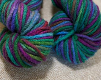 Hand dyed aran weight variegated yarn, non superwash wool, diaper cover wool, A Pocket for Corduroy, Storybook Skeins