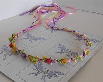 Rainbow Flower Crown, Bohemian Wreath, Floral Halo, Rainbow Circlet, Boho Hair Wreaths, Wedding Special Occasions Hair Accessories