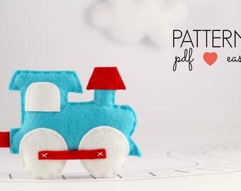Toy Pattern, Train Nursery, Felt Train Sewing Pattern, Train Pattern, Baby Mobile Pattern, Train Ornament Felt Toy Pattern Transport