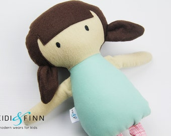 SAMPLE SALE Mini Pals soft rag doll keepsake gift OOAK ready to ship pink black white modern