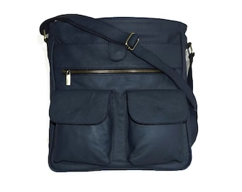 "Dark Navy Leather Messenger Bag, Leather Cross-body Purse, Leather Handbag, Iris fits a 11"" laptop & ipad"