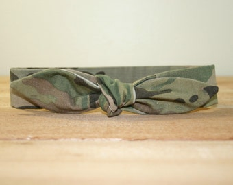 Army Adult Headband with Tie Hairbow Military Multicam Camo