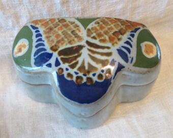 Butterfly Unusual Slab Pottery Trinket Box