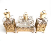 Antique Heavy Glass Crystal and Gold Gilt Ormolu Vanity Set - Powder Jar With Lid and 2 Perfume Bottles - 3 Piece Set - Hollywood Regency